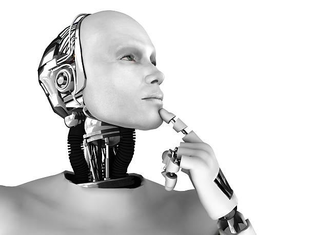 Male robot thinking about something. stock photo