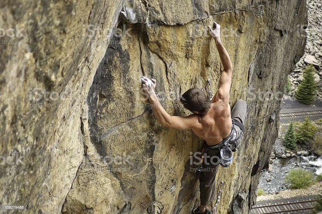 Male Rock Climber Climbing Mountain Face royalty-free stock photo