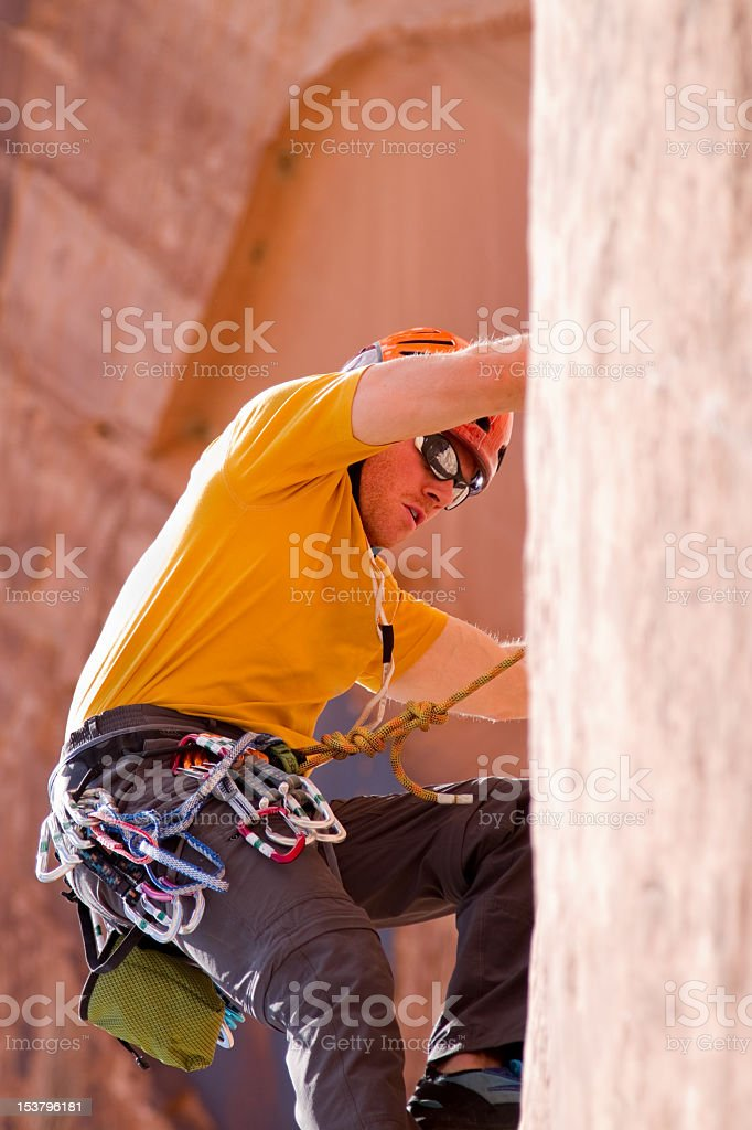 Male Rock Climber In Moab Utah royalty-free stock photo