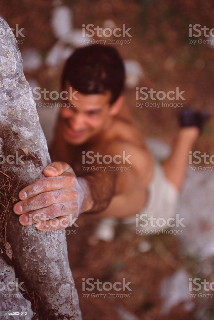 Male rock-climbing royalty-free stock photo
