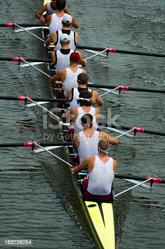 istock Male rowing team on ongoing competition 183239254