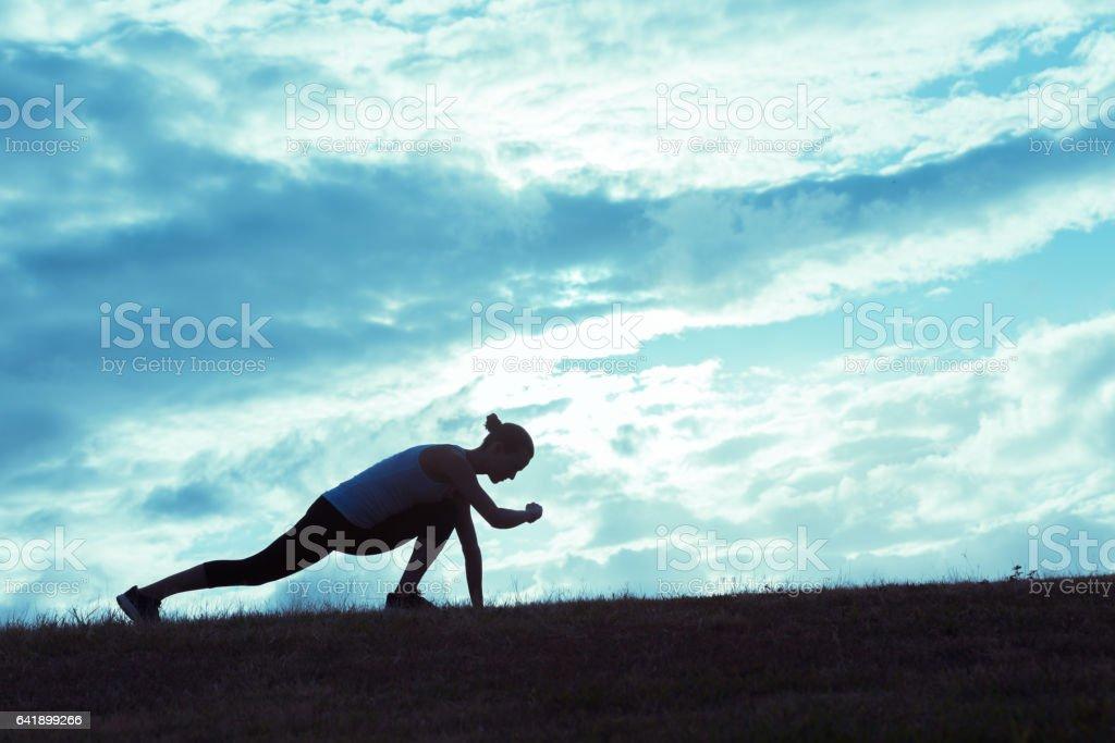 Male runner timing his run stock photo