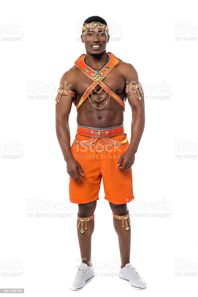 Male samba dancer isolated on white royalty-free stock photo