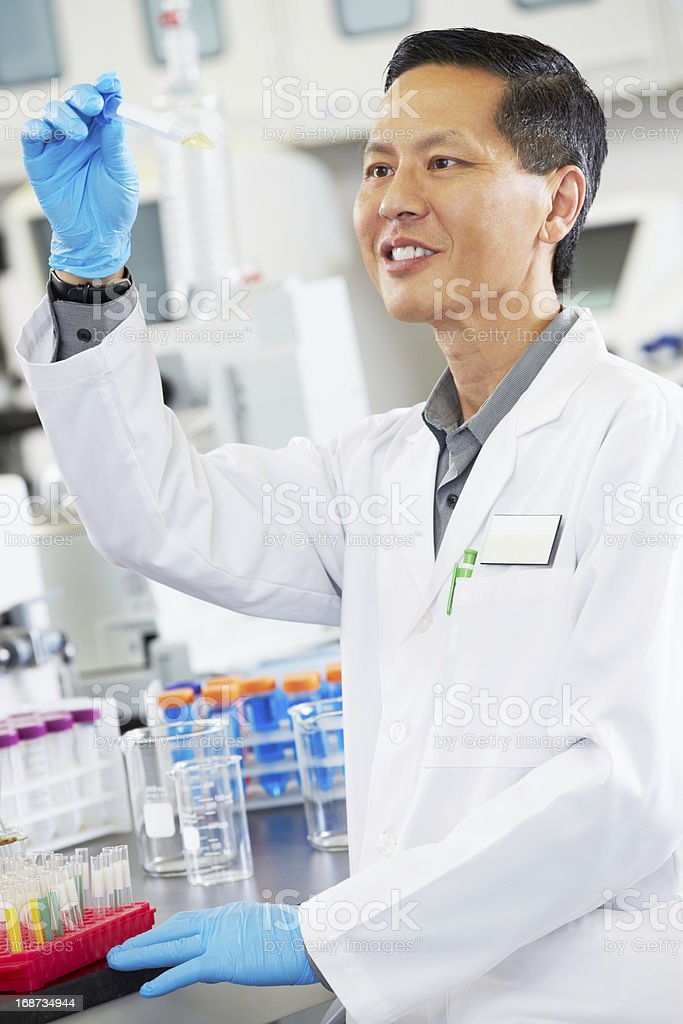 Male Scientist Working In Laboratory royalty-free stock photo
