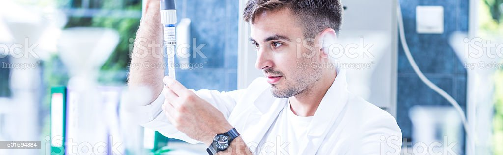 Male scientist working in laboratory stock photo