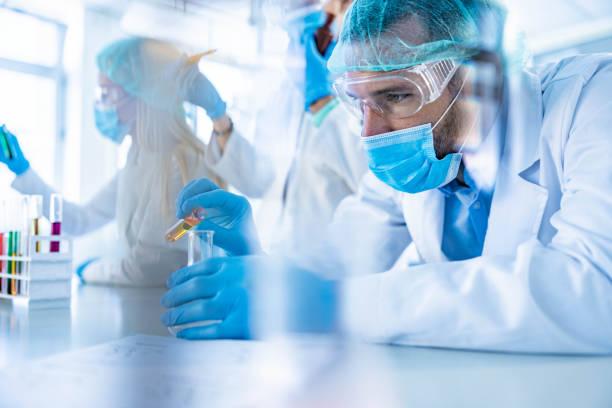 male scientist working on scientific research in laboratory. - ricerca scientifica foto e immagini stock
