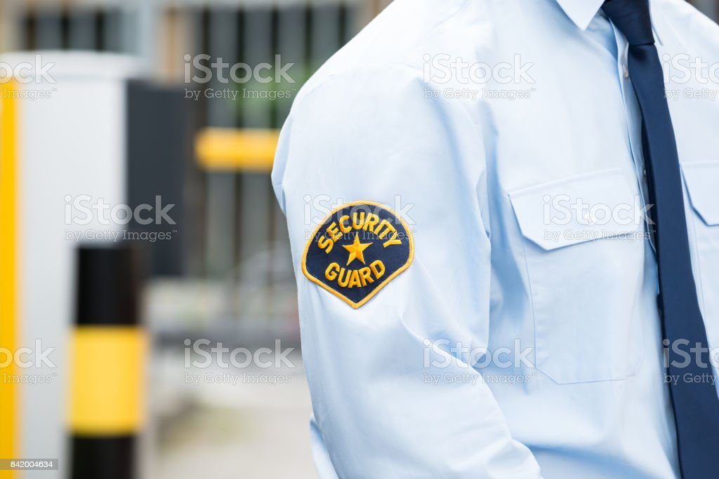 Male Security Guard In Uniform stock photo