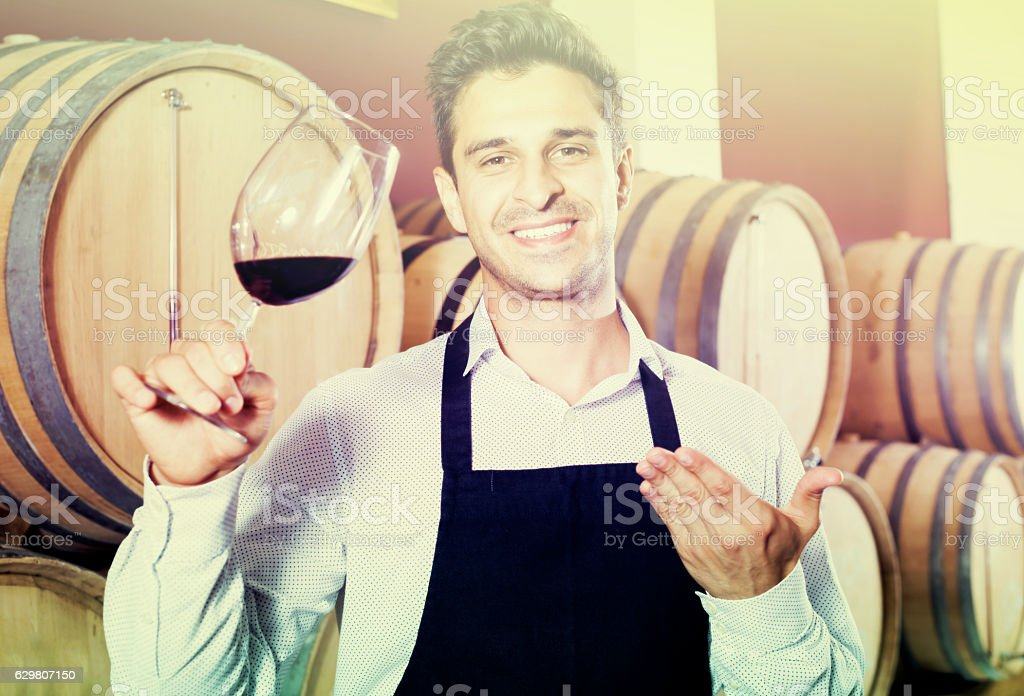 Male seller in wine store stock photo