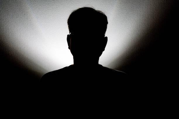 Male shadow portrait stock photo