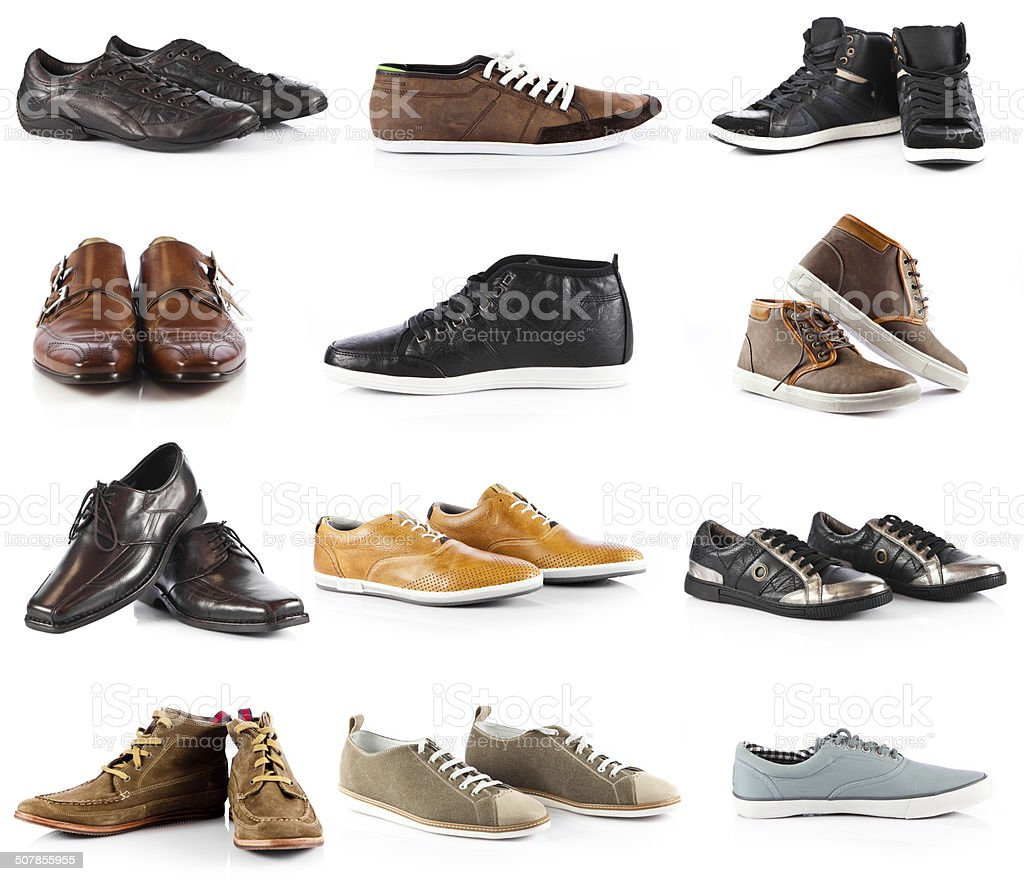 Male shoes collection. stock photo