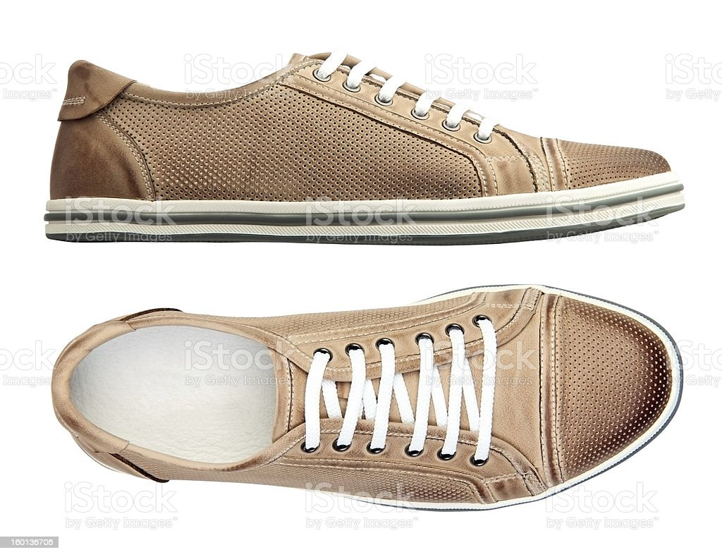 Male shoes over white, with clipping path royalty-free stock photo