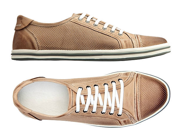 Male shoes over white, with clipping path stock photo
