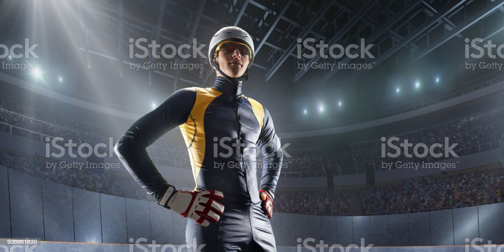 Male Short Track athlete in professional ice arena stock photo