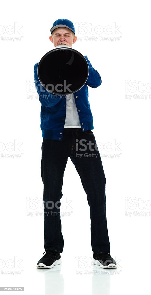 Male shouting with megaphone royalty-free stock photo