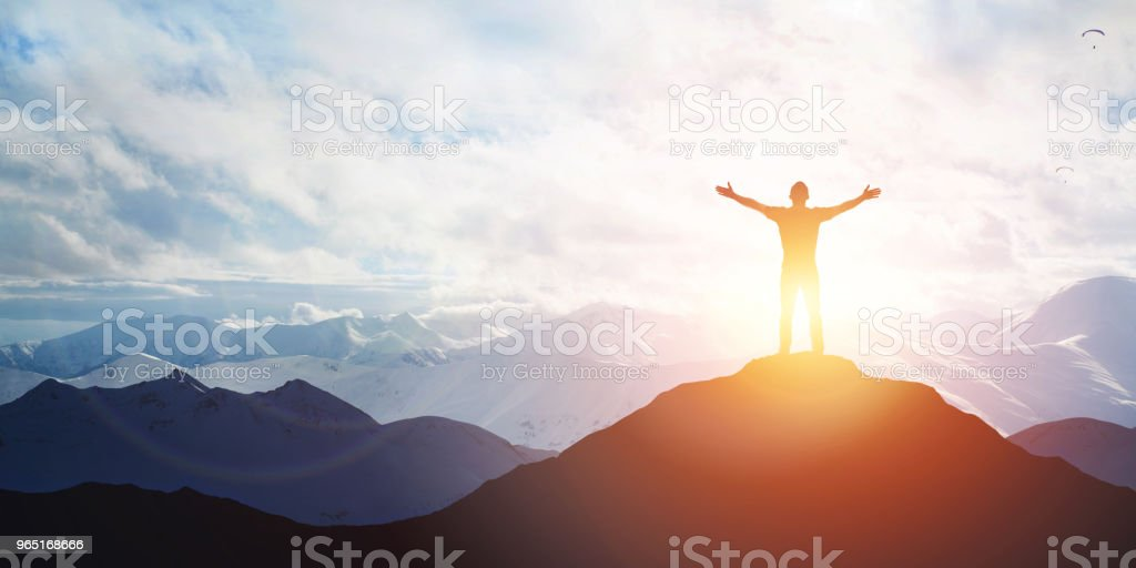 Male silhouette on sunrise background royalty-free stock photo