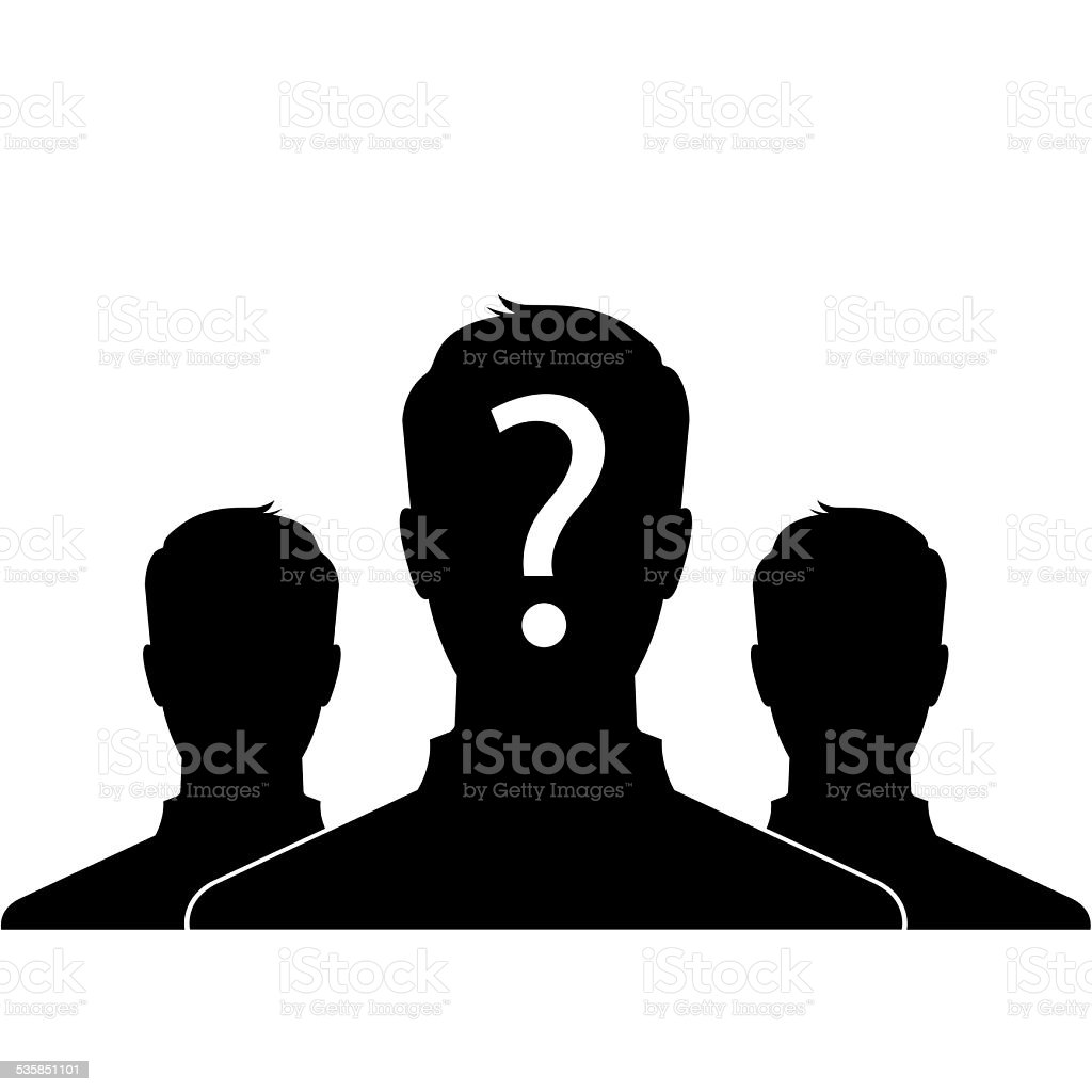 Male silhouette portrait icon with question mark sign stock photo