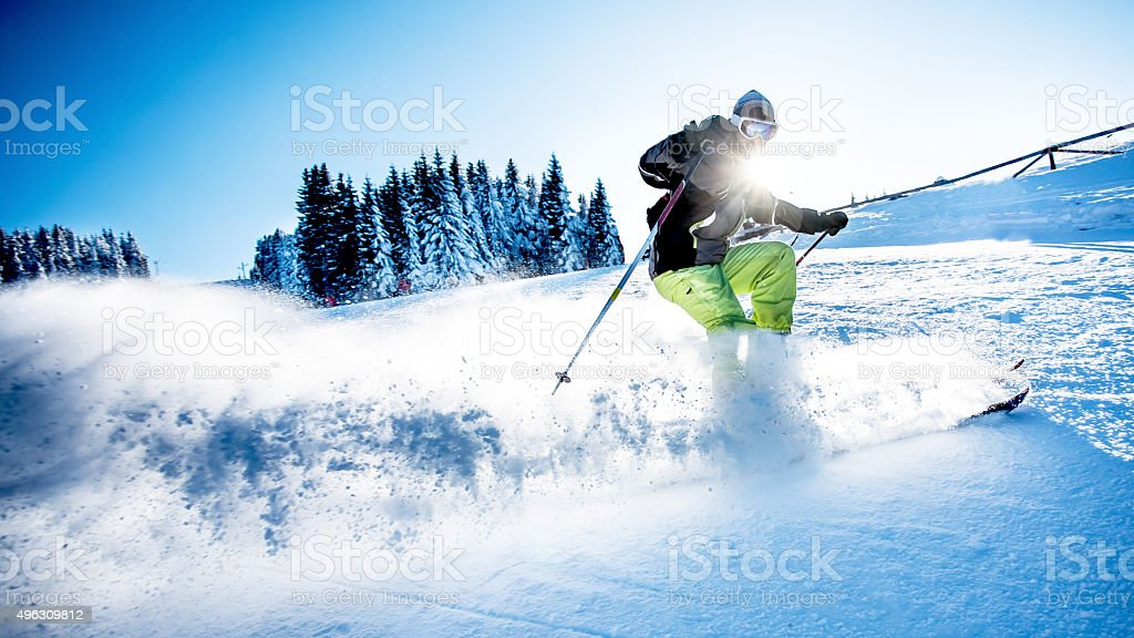 Male skier stock photo
