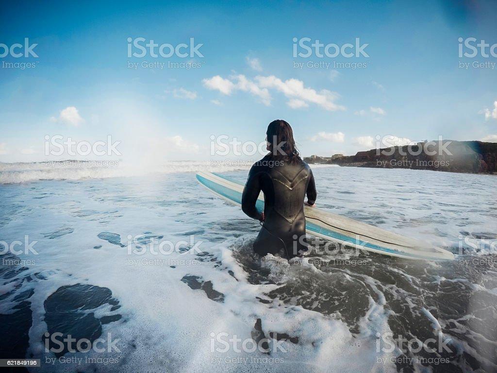 Male Surfer in the Sea stock photo