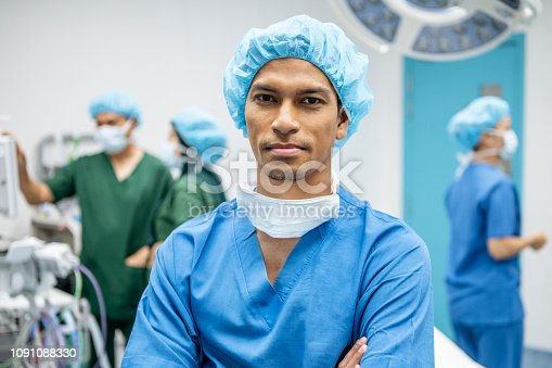 Asian doctor wearing scrubs and surgical cap in operating theatre, front view