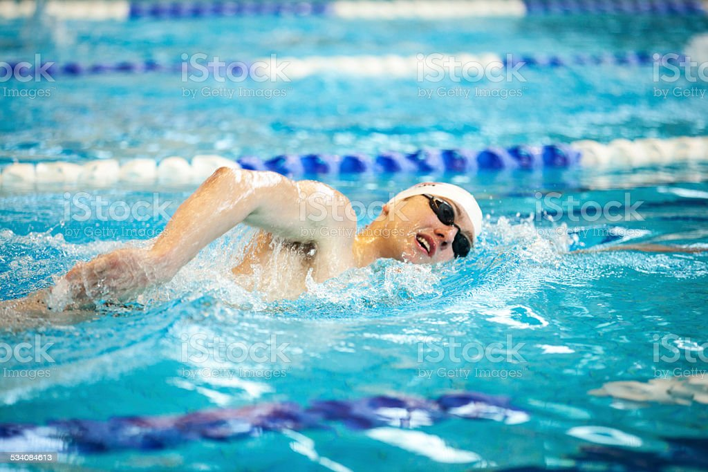Male Swimmer Doing Front Crawl stock photo