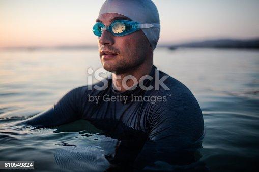 istock Male swimmer portrait 610549324