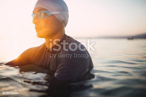 istock Male swimmer portrait 623926344