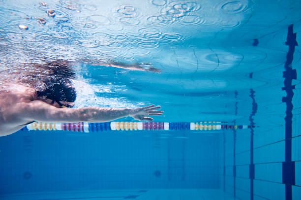 male swimmer swimming underwater in a pool - swim arms imagens e fotografias de stock