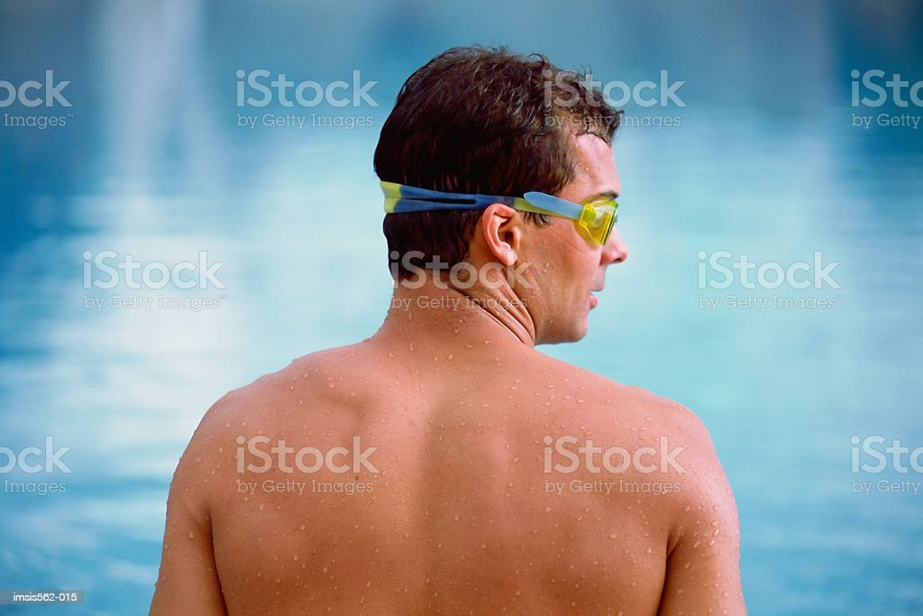 Male swimmer with goggles royalty-free stock photo