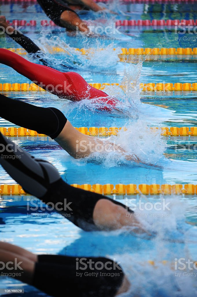 Male swimmers diving royalty-free stock photo