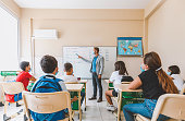 istock Male teacher with face mask teaching a group of students in a high school lesson 1279041754