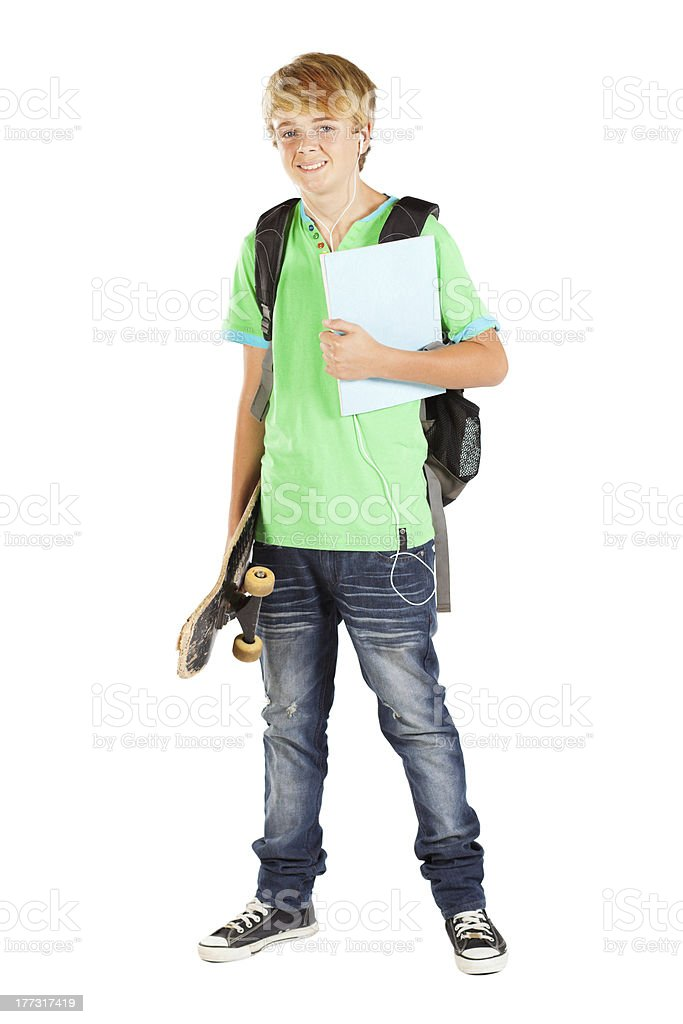 male teen student full length portrait stock photo