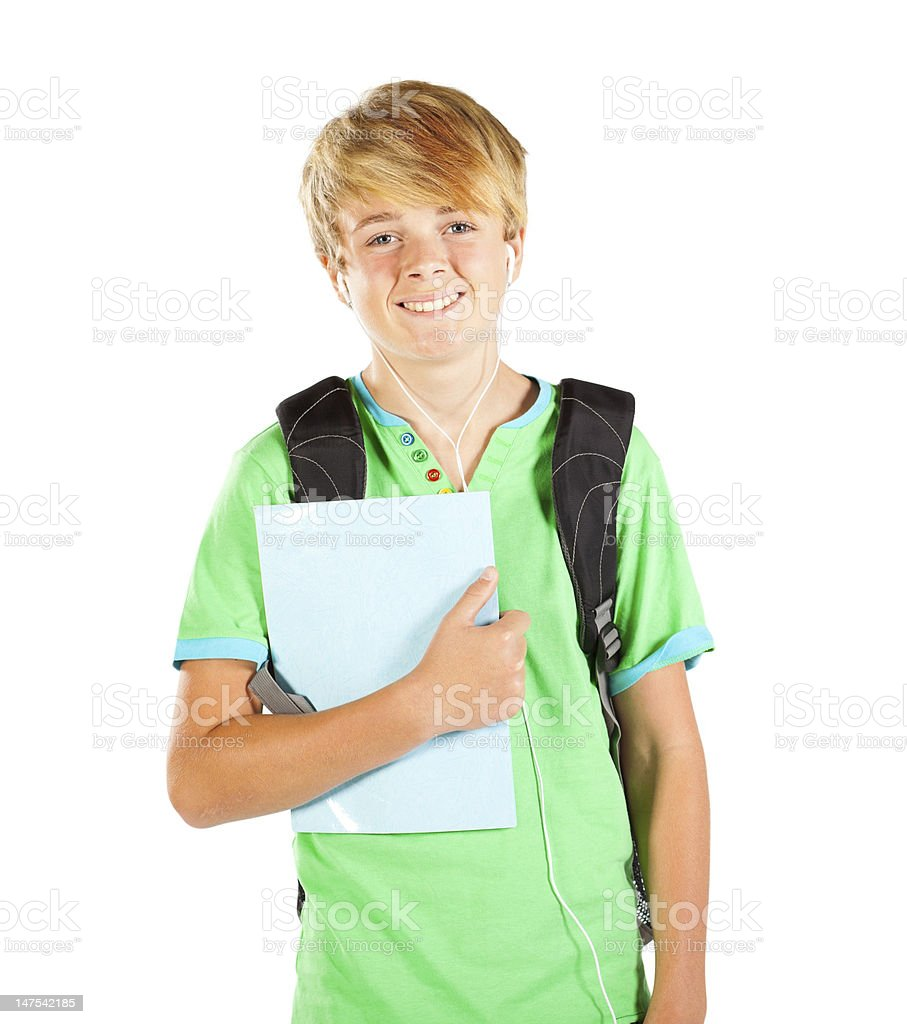 male teen student half length portrait royalty-free stock photo
