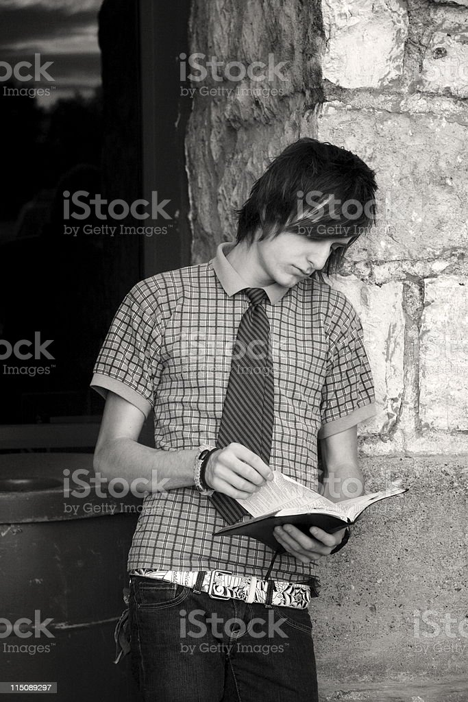 male teen studying portrait royalty-free stock photo