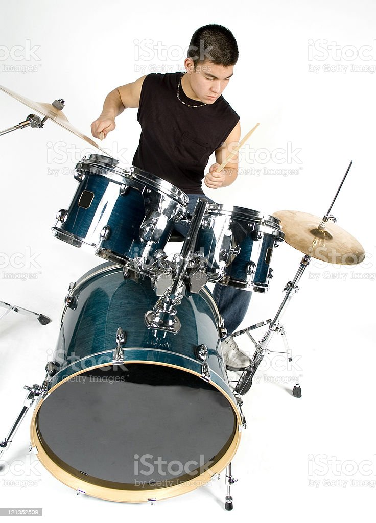 Male Teenager Playing Drum Set Isolated one White Background  Adolescence Stock Photo