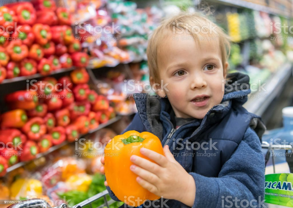 Male Toddler at the Supermarket stock photo