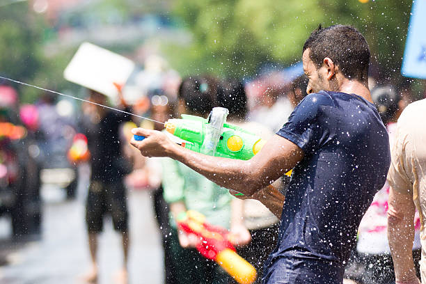 Male Tourist at Chiang Mai Songkran Festival stock photo