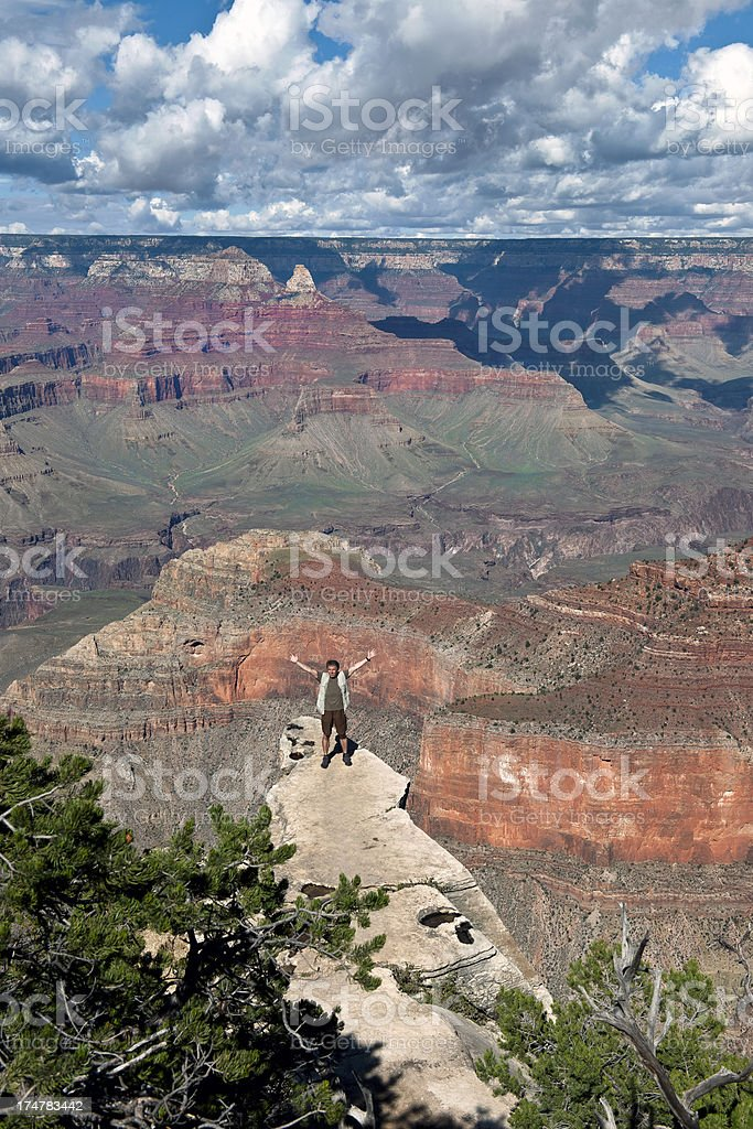 Male Tourist Enjoying Beauties of Grand Canyon  Arizona USA royalty-free stock photo