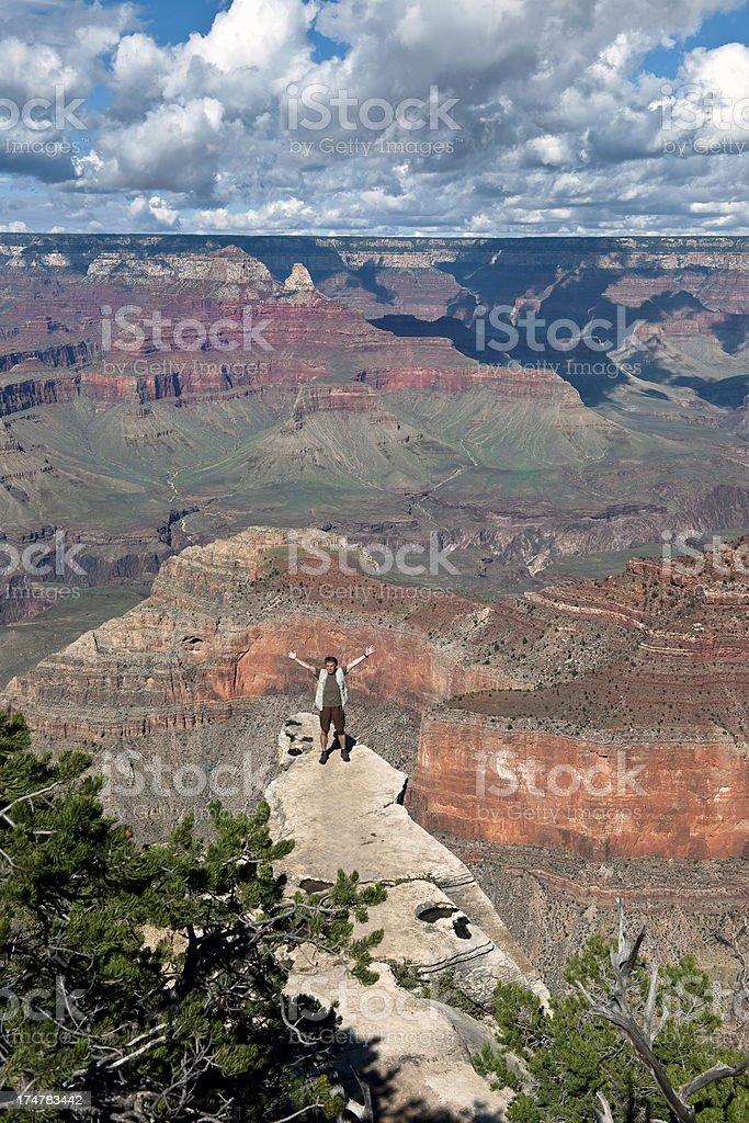 Male Tourist Enjoying Beauties of Grand Canyon  Arizona USA stock photo