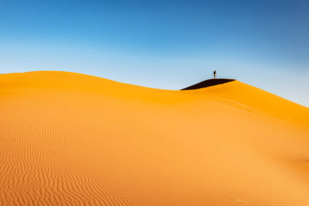 Male tourist photographing, sand dunes, afternoon, Erg Chebbi, Morocco, North Africa stock photo