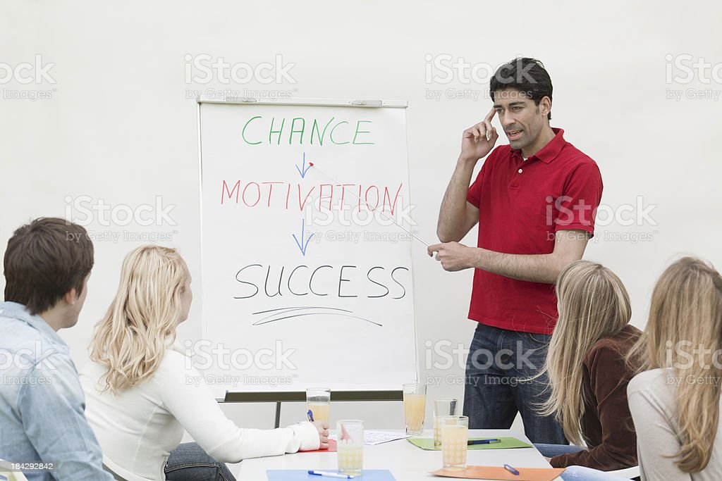 Male trainee at flipchart talking to group of students royalty-free stock photo