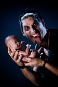 Male vampire and a baby.