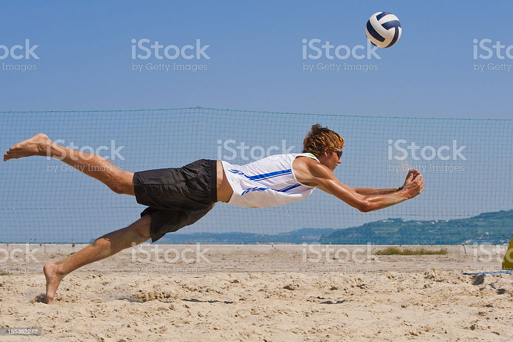 Male volleyball player in attractive action royalty-free stock photo