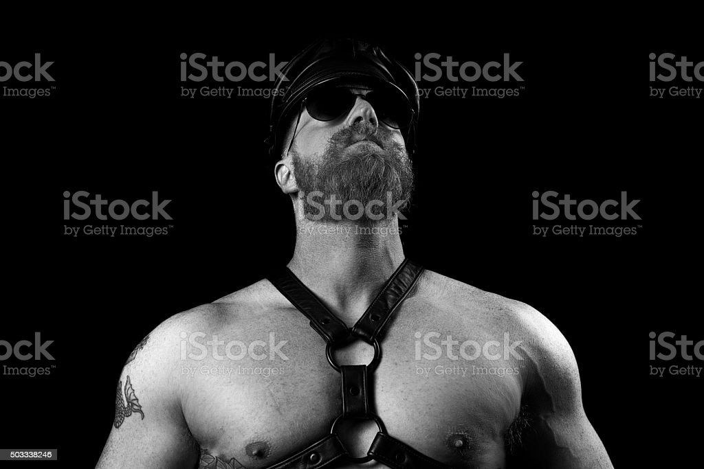 Male Wearing a Leather Harness and Sunglasses stock photo