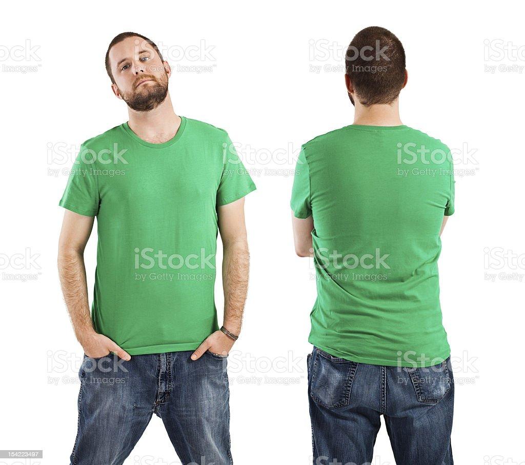 Male wearing blank green shirt stock photo