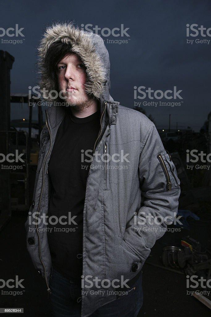 Male Wearing Coat Night Sky Portrait royalty-free stock photo