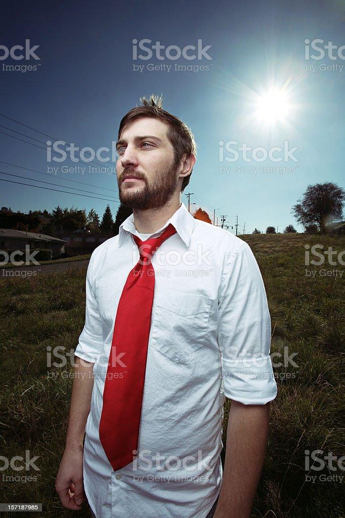 Male Wearing Tie in Field royalty-free stock photo
