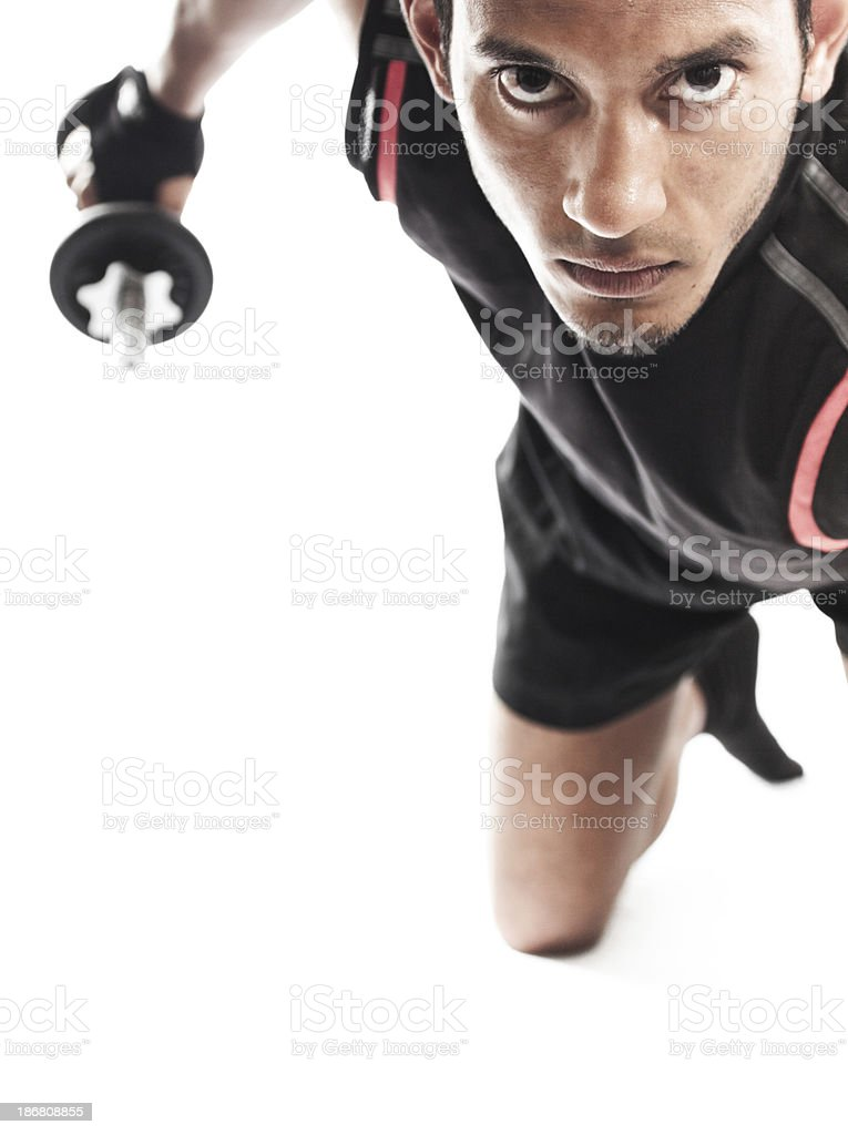 Male Weight Trainer Tricep Extension royalty-free stock photo