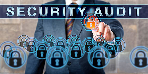 Male White Collar Manager Touching SECURITY AUDIT stock photo