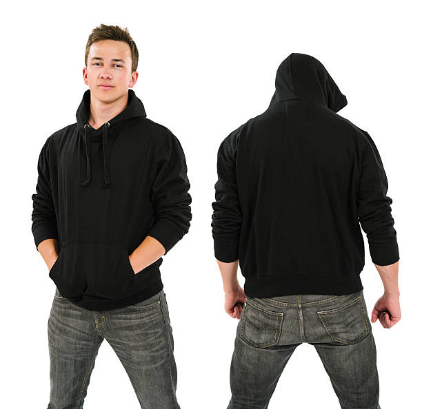 Male with blank black hoodie stock photo