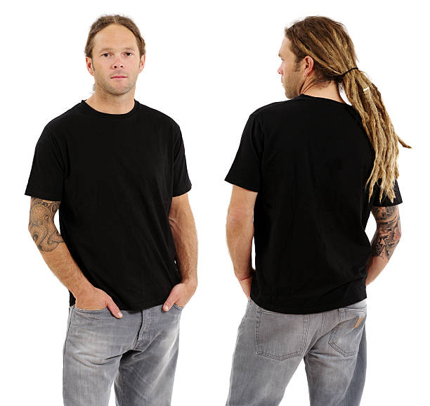 Male with blank black shirt and dreadlocks stock photo